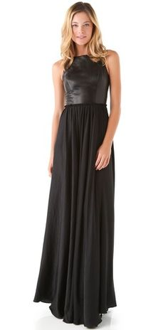 Shirred Waist Dress with Leather Bodice