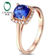 caimao 18kt/750 rose gold 1.33 ct natural if blue tanzanite aaa 0.15 ct full cut diamond engagement gemstone ring