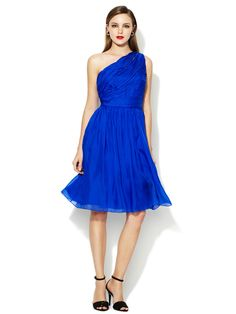 One Shoulder Ruched Bodice Dress by ML Monique Lhuillier at Gilt