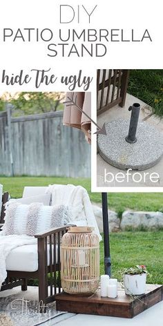Make a wood box to the hide the ugly part of your patio umbrella. DIY patio and porch decor and decorating ideas. DIY patio projects and furniture. Farmhouse patio decor and ideas. Outdoor Umbrella Stand, Best Patio Umbrella, Umbrella Lights, Outdoor Patio Umbrellas, Umbrella Stands, Umbrella Holder, Diy Umbrella Base, Patio Diy, Backyard Patio