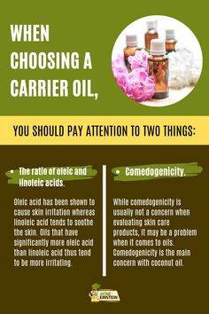 Choosing the right carrier oil is as important as choosing the right essential oil to combat your acne. There are two things you should pay attention to, namely the ration of oleic and linoleic acids and the comedogenicity of the oil. Home Remedies For Acne, Best Essential Oils, Carrier Oils, Acne Prone Skin, New Tricks, Pay Attention, Clear Skin, Essentials