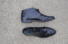 80s black woven leather boots / vintage 1980s by QuietUnrest, $72.00