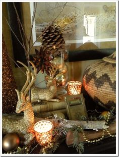 rustic accents and gold Country Christmas, Little Christmas, All Things Christmas, Christmas Crafts, Xmas, Merry Christmas, Pine Cone Decorations, Christmas Decorations, Santa Claus Is Coming To Town