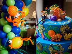 Under the sea balloons and cake