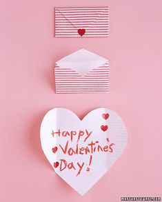 Folding Hearts Valentines  Friends will be aflutter over envelopes that turn into valentines. Cut a fat heart from paper that has a white side and a patterned side -- wrapping paper works well.