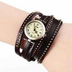Frauen Jahrgang Roma Dial Lange Strap-Leder-Band-Armbanduhr Quarz Analog (verschiedene Farben) – EUR € 9.19