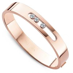 Bangle in pink gold with diamonds by Messika