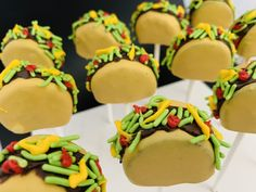 Excited to share this item from my #etsy shop: Taco Cake Pops #tacotuesday #taco Taco Cake, 18th Cake, White Cake Pops, Cake Pop Stands, Birthday Cake Pops, Taco Tuesday, Tacos, Etsy Shop, Breakfast