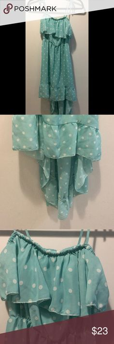 """Chiffon dress Adorable chiffon polka dot dress... Super cute, baby blue.. Adjustable tie straps...waist 17"""" stretched front length 29"""" back length 40"""".. Too cut to pass up!!😍 unknown Dresses High Low"""