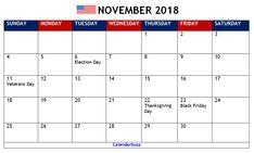 november 2018 calendar canada