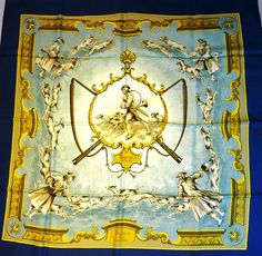 Authentic Vintage Hermes Silk Scarf Chiens et Valets by Charles-Jean Hallo 1963 RARE Blue Border
