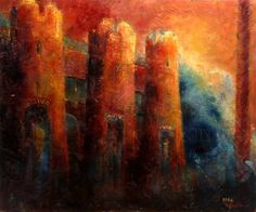 Psalm 62, Christa Rosier. Reading right to left there is a Hebrew word before the towers, and then a word on each tower, all from this Psalm. Here are the words: צור sure: the rock, מחסי mahsi: my refuge, ישועתי yesuati: my salvation comes, משגבי misgabbi: he is my defense