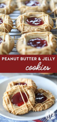 Peanut butter and jelly thumbprint cookies - Peanut butter jelly - Cookies Recipes Chocolate Chip Cookies, Chocolate Cookie Recipes, Easy Cookie Recipes, Peanut Butter Cookie Recipe, Sugar Cookies Recipe, Yummy Cookies, Peanut Butter Thumbprint Cookies, Charlotte Torte, 2 Ingredient Cookies