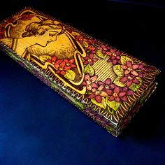 Victorian Wood Vanity Glove Box // PYROGRAPHY Flemish Art