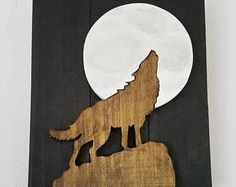 Wolf Decor Wall Hanging Wolf Howling Full Moon