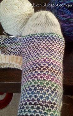 FitzBirch Crafts: Broken Seed Stitch (or Moss Stitch) Socks