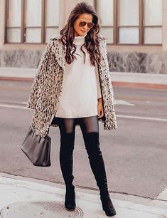 winter fashion trends / animal printed coat + bag + white sweater dress + over knee boots Petite Fashion Tips, Petite Outfits, Trendy Outfits, Fashion Outfits, Fashion Trends, Fashion Styles, Boots For Short Women, Dress For Short Women, Short Girls