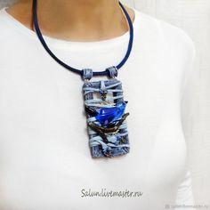 Купить Кулон Бохо-птичка - индиго, синий, полимерная глина, джинсовый, синяя птица
