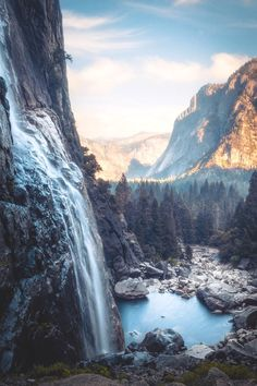 Mountain Cliff Waterfall Pond River Conifer Forest, Yosemite beautifulnaturephotos heyjoe_design honeymoon destinations to … Natur Wallpaper, Landscape Photography, Nature Photography, Park Photography, Waterfalls Photography, Photography Tricks, Camping Photography, Night Photography, Landscape Photos