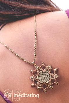 Handmade macrame necklace with Flower of Life by TheMeditatingCat