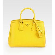 Prada Saffiano Small Ew Top Handle Bag ($1,890) ❤ liked on Polyvore