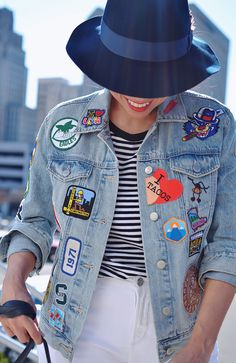 Outfit with patches on denim jacket