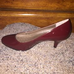 Patent leather red heels Hardly worn Alfani red patent leather heels, they're super comfy and have a modest two inch heel. They have two small scuffs, but other than that are in perfect condition. Alfani Shoes Heels