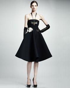 Lanvin Strapless Rose Applique Gabardine Dress, Black Tech gabardine shapes the sculptural silhouette 2013