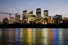 Australia, Sydney, City skyline at night with Sydney Tower.