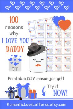 These Printable 100 Reasons Why I Love You Daddy Notes are excellent sentimental DIY gift for Dad from Daughter (Thank You Dad gift)! Please visit our website to buy it now!    #daddyquotes #dadfromdaughter #sentimentalgifts #diygiftsfordad #fatherquotes #diycardsfordad #daddygifts #thankyoudadgifts #romanticloveletterss