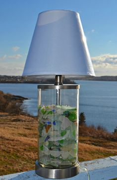 Maine Made Seaglass Lamp by BeachBumsLife on Etsy