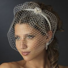 wedding veils and headpieces | Silver Ivory Pearl & Clear Rhinestone Bridal Veil Headband Headpiece
