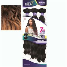"Kanubia Easy 7 Hawaiian 14/16/18"" - Color SOM4407 - Synthetic (Curling Iron Safe) Weaving - 2-Way Invisible Part - 6 pcs + closure"