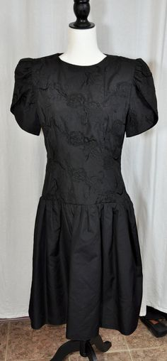 Vintage 80's Lizzy & Johnny By Lucero Black Western Drop Waist Dress Floral Embroidered Size 7/8