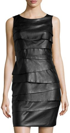 Vakko Tiered Layered Faux-Leather Dress