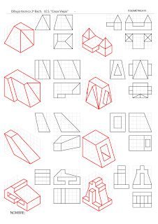 losmuertosdeldiedrico 3d Drawings, Drawing Sketches, Isometric Drawing Exercises, Orthographic Drawing, Drafting Drawing, Interesting Drawings, 3d Sketch, Perspective Art, Geometric Drawing