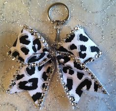 Cheer Bow Key Chain Black & White Cheetah Bling on Etsy, $5.25