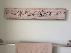 HIS & HER get naked bathroom wood sign