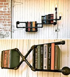 freakin' AWESOME: pipe bookshelves (LOVE) --- very versatile too -- sooooo many ways you can configure these & put them together!!!