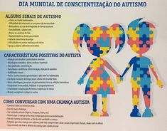 Dia Mundial de Conscientização do Autismo 2 de Abril | Blog Casa Joka Blog Casa, Planner Stickers, Learning, Prints, Baby, Instagram, World Autism Day, Children With Autism, Autism Signs