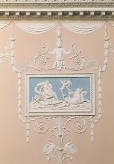 Claydon House, detail of Roses plasterwork on the south wall of the staircase
