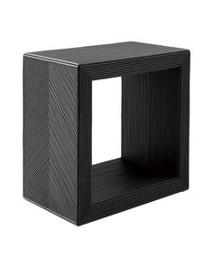 A simple Parsons-inspired base gets gorgeous texture from slender rattan pole, meticulously hand-applied. The rich black finish and the chevron design on both side panels elevate the entire look, giving typically casual rattan an unexpected edge. Small Accent Tables, Rattan Side Table, Living Spaces, Living Room, Living Furniture, Decoration, Room Inspiration, New Homes, Wells