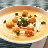 White and Sweet Potato Soup with Garlic Croutons