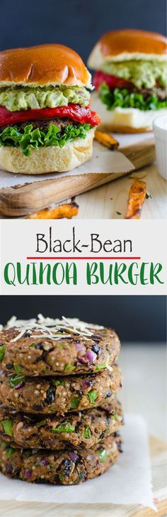 Black Bean Quinoa Veggie Burger Healthy and skinny black bean quinoa burger that are loaded with healthy plant proteins, dietary fibers and nutrition from fresh veggies Burger Recipes, Veggie Recipes, Vegetarian Recipes, Cooking Recipes, Healthy Recipes, Quinoa Veggie Burger, Healthy Snacks, Healthy Eating, Cookies Et Biscuits