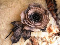 Wet felted rose brooch