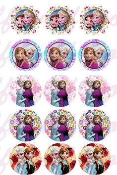 Imágenes de chocotransfer Frozen Cupcake Toppers, Princess Cupcake Toppers, Disney Princess Cupcakes, Disney Princess Frozen, Disney Frozen Birthday, Frozen Theme Party, Looney Tunes Cartoons, Bottle Cap Crafts, Bottle Cap Images