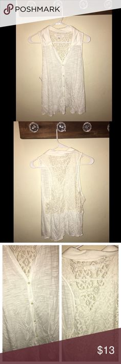 Aeropostale Tank Cream color - collared neck - button down - lace back - great condition Aeropostale Tops Tank Tops