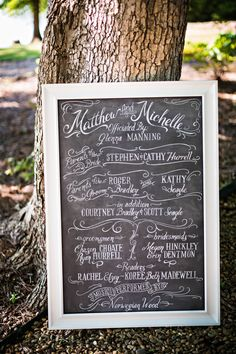Wedding chalk board for outdoor wedding
