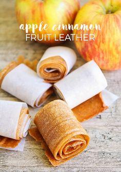 Apple Cinnamon Fruit Leather Recipe Homemade Fruit Leather, Fruit Leather Recipe, Vegan Snacks, Healthy Snacks, Kid Snacks, Simple Snacks, Kid Lunches, Fruit Snacks, Lunch Snacks