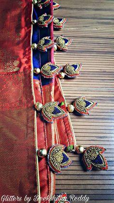 Saree Design Patterns, Saree Tassels Designs, Saree Kuchu Designs, Silk Saree Blouse Designs, Bridal Blouse Designs, Embroidery Neck Designs, Bead Embroidery Patterns, Beaded Embroidery, Indian Groom Wear